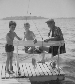A summertime fishing outing with my grandfather and friend, Eddie, at a nearby lake.